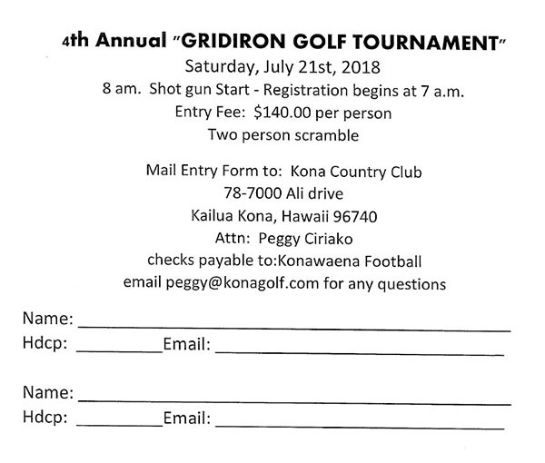 4th Annual Gridiron Golf Tournament Form