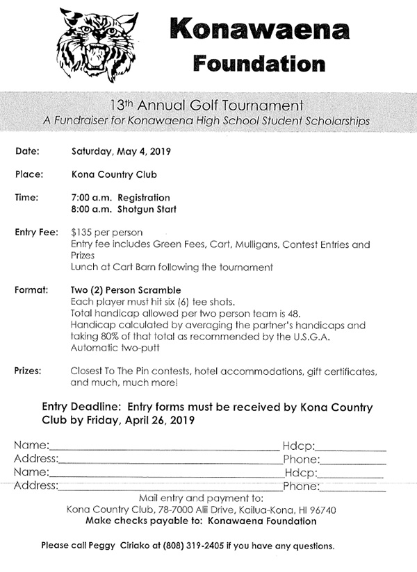 Konawaena Foundation 13th Annual Golf TOurnament Form