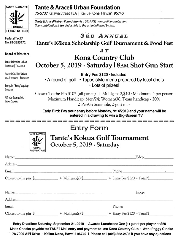 3rd Annual Tante's Kokua Scholarship Golf Tournament & Food Fest